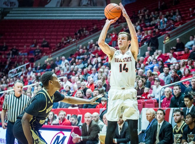 Ball State's Kyle Mallers shoots against Western Michigan during their game at Worthen Arena Saturday, Feb. 9, 2019.