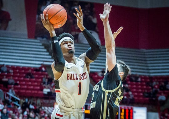 Ball State's K.J. Walton goes up for a shot against Western Michigan during their game at Worthen Arena Saturday, Feb. 9, 2019.