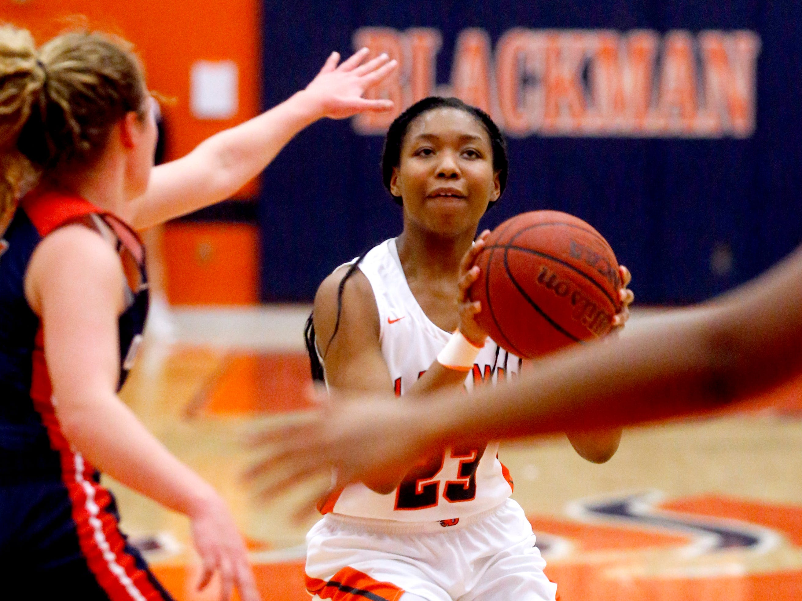 Blackman's Iyana Moore (23) shoots the ball during the game against Blackman on Friday, Feb. 8, 2019.