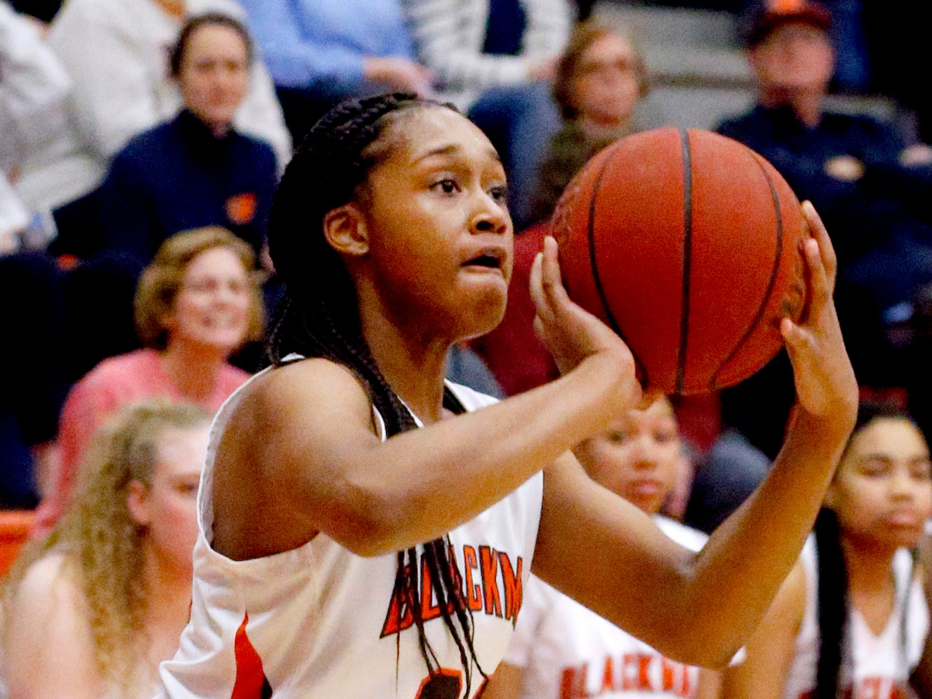 Blackman's Geegee Hollingsworth (34) tries for a three point basket during the game against Oakland on Friday, Feb. 8, 2019.