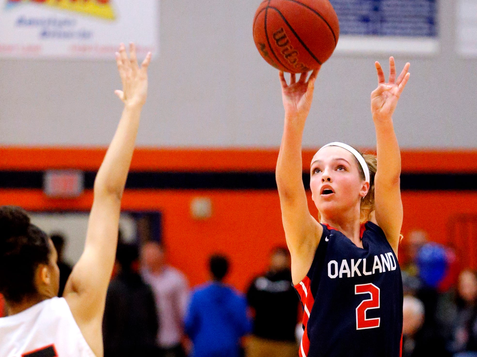 Oakland's Faith Adams (2) shoots the ball during the game against Blackman on Friday, Feb. 8, 2019.