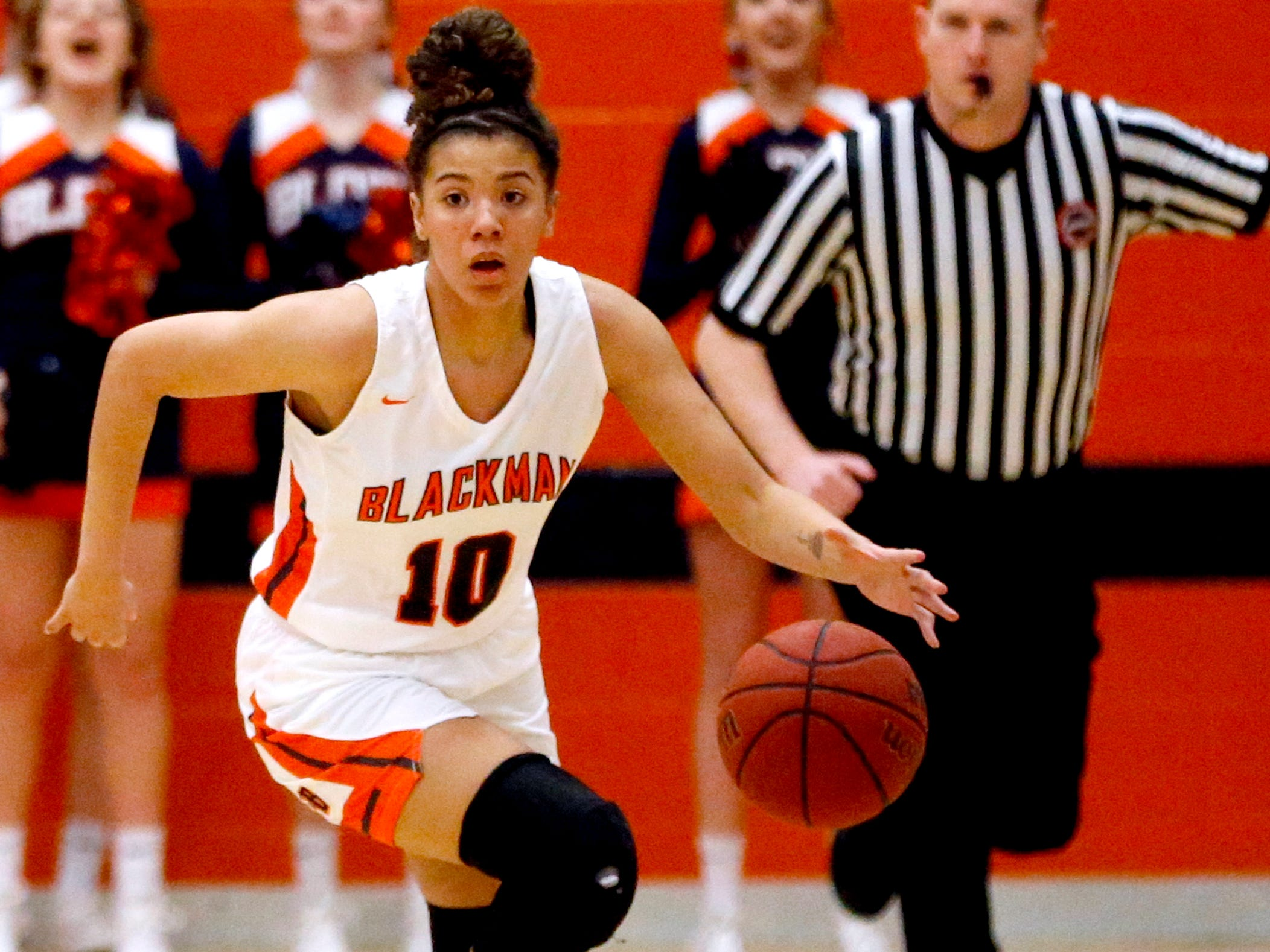 Blackman's Jaida Bond (10) brings the ball down the court during the game against Oakland on Friday, Feb. 8, 2019.