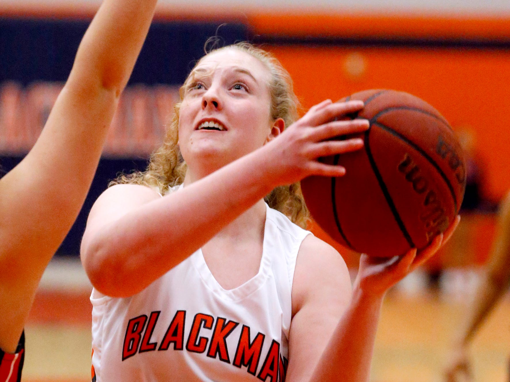 Blackman's Bri Hay (5) goes up for a shot during the game against Oakland on Friday, Feb. 8, 2019.