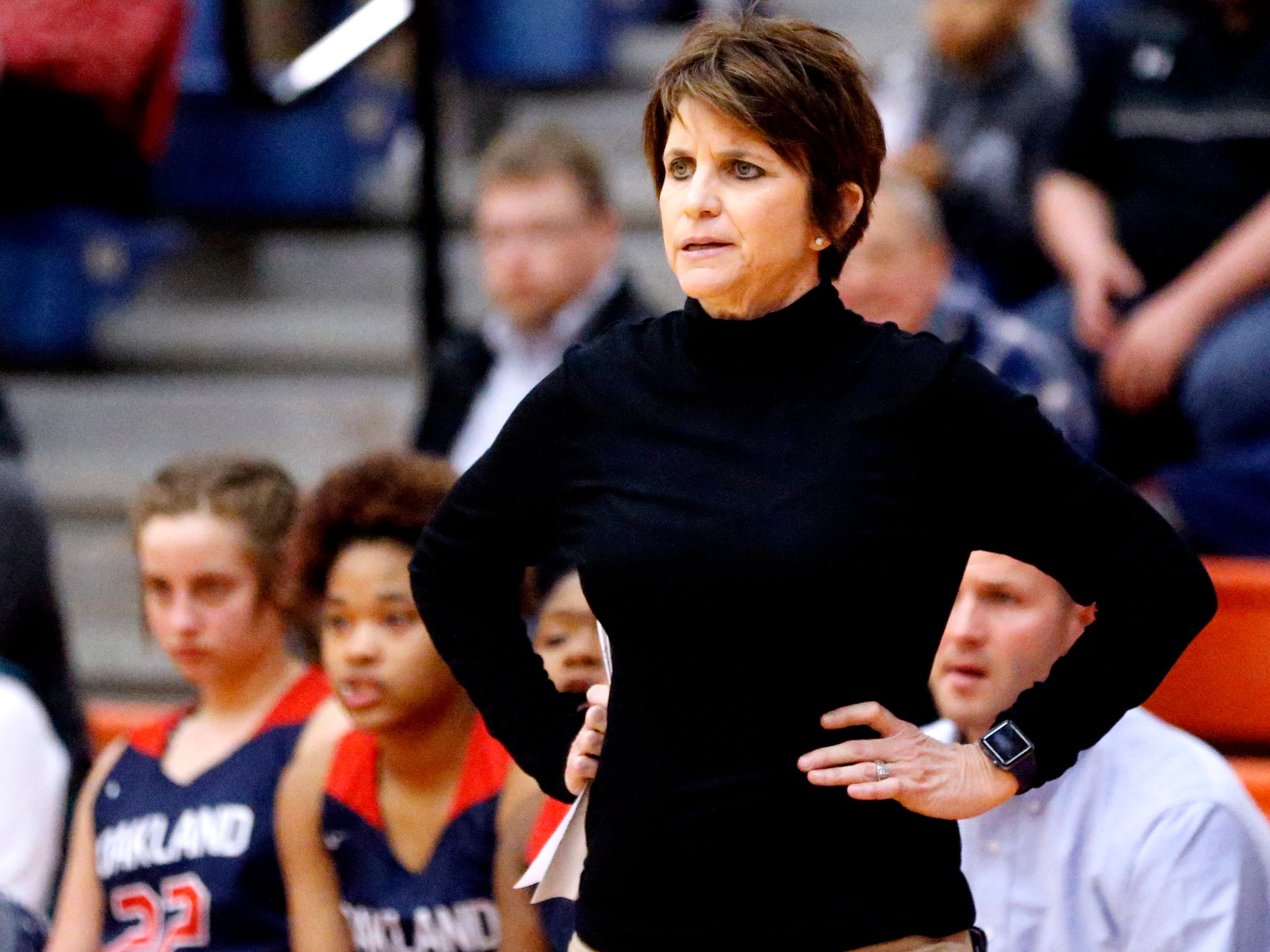 Oakland's head coach Jennifer Grandstaff on the sidelines during the game against Blackman on Friday, Feb. 8, 2019.