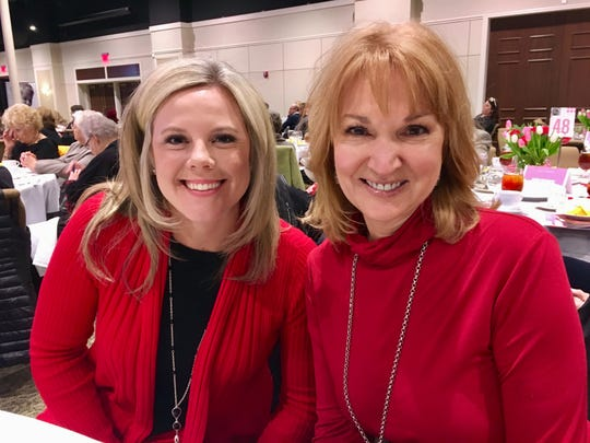 Fox 17 meteorologist Katy Morgan, left, and Channel 4 meteorologist Lisa Spencer at a Nashville Rescue Mission fundraiser Feb. 9, 2019, at Trevecca Nazarene University
