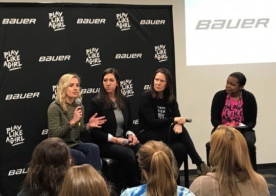 National Women's Hockey League Founder Dani Rylan, NWHL Deputy Commissioner Hayley Moore, and Bauer Hockey VP of Marketing Mary-Kay Messier speak to girls at Play Like a Girl Leadership Summit on Saturday.