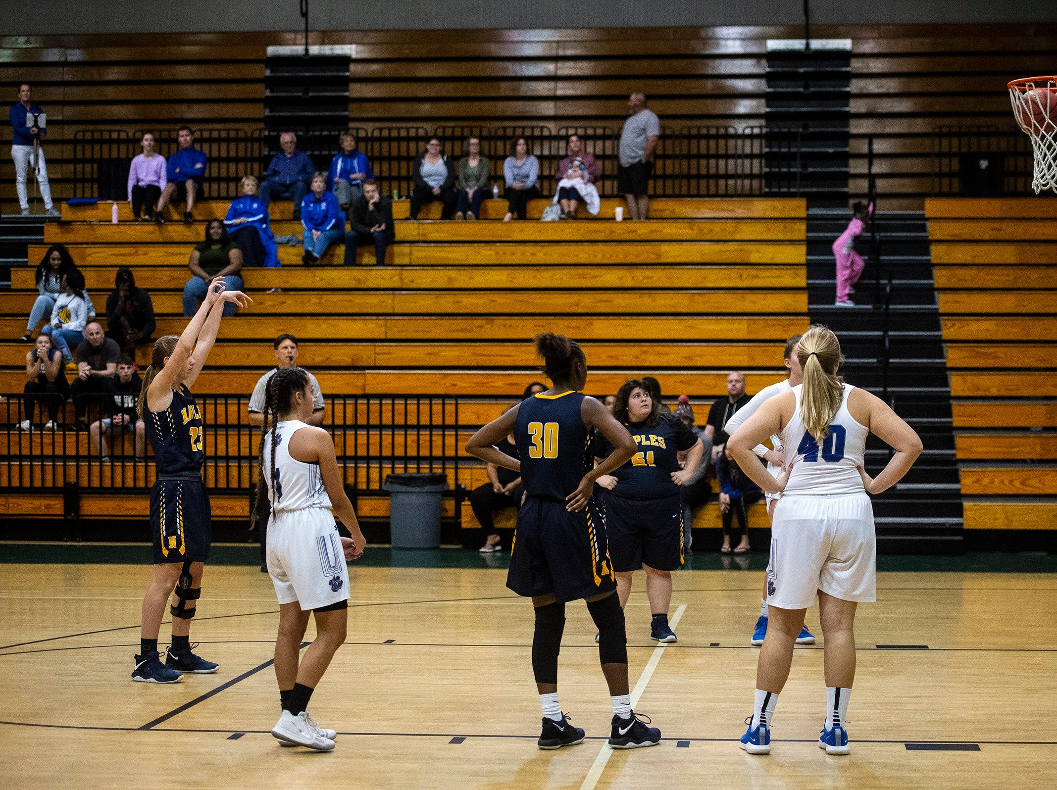 Naples High School's Amelia Hanlon takes a free throw during the Class 7A-District 12 Championship against Barron Collier High School in Naples, Fla., on Friday, Feb. 8, 2019.