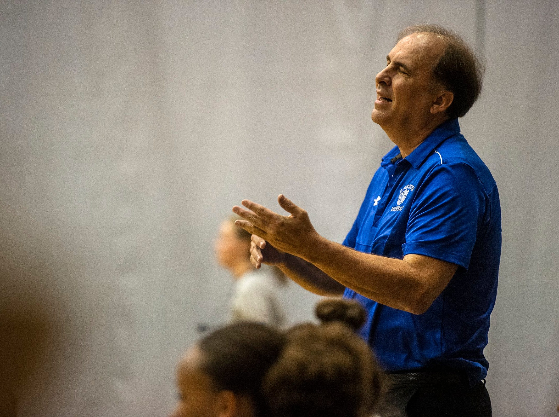 Barron Collier head coach Mike Hamburg reacts to a call during the Class 7A-District 12 Championship against Naples High School in Naples, Fla., on Friday, Feb. 8, 2019.