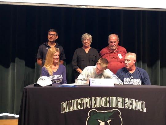 Palmetto Ridge High School senior soccer player Lawson Dooling signed with Georgia Southern on Friday, Feb. 8, 2019.