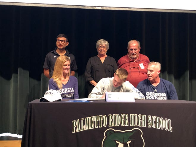 Palmetto Ridge High School senior soccer player Lawson Dooling signed with Georgia Southern on Friday, Feb. 8, 2019.
