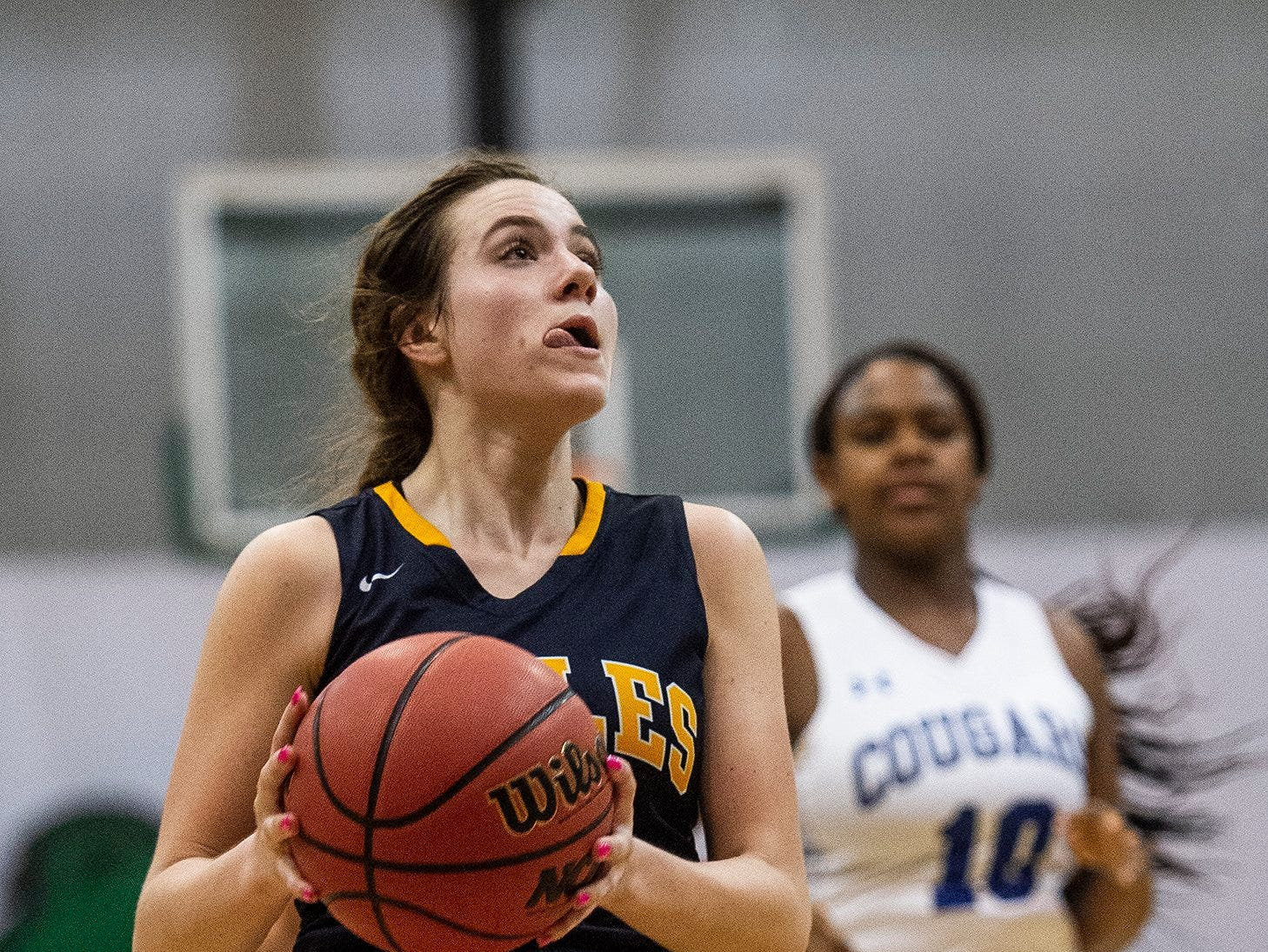 Naples High School's Sydney Zerbe goes up for a shot during the Class 7A-District 12 Championship against Barron Collier High School in Naples, Fla., on Friday, Feb. 8, 2019.
