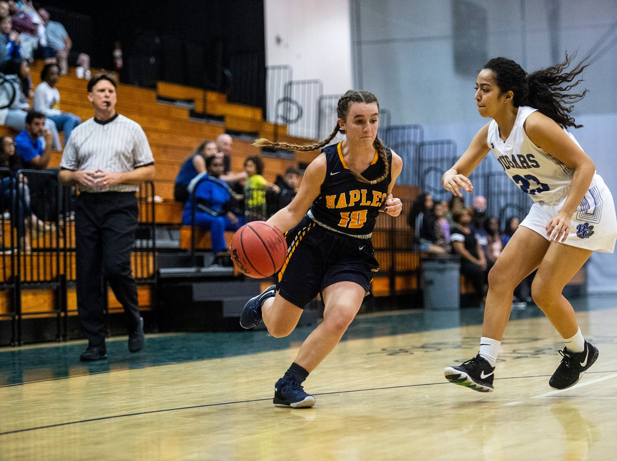 Naples High School's Sydney Zerbe takes the ball down court during the Class 7A-District 12 Championship against Barron Collier High School in Naples, Fla., on Friday, Feb. 8, 2019.