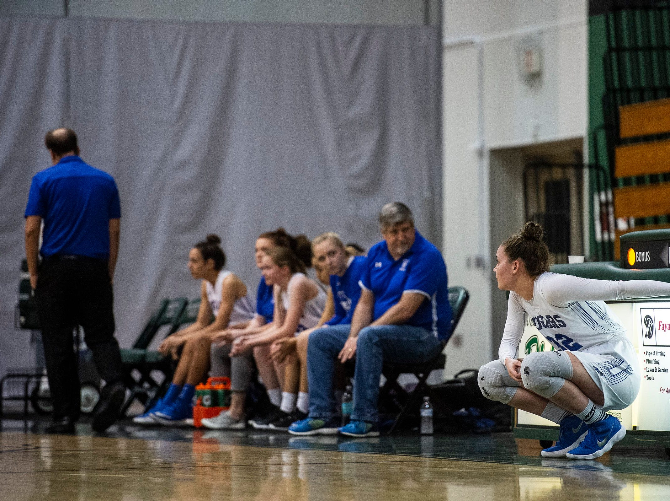 Barron Collier's Halie Egan waits to get substituted in during the Class 7A-District 12 Championship against Naples High School in Naples, Fla., on Friday, Feb. 8, 2019.