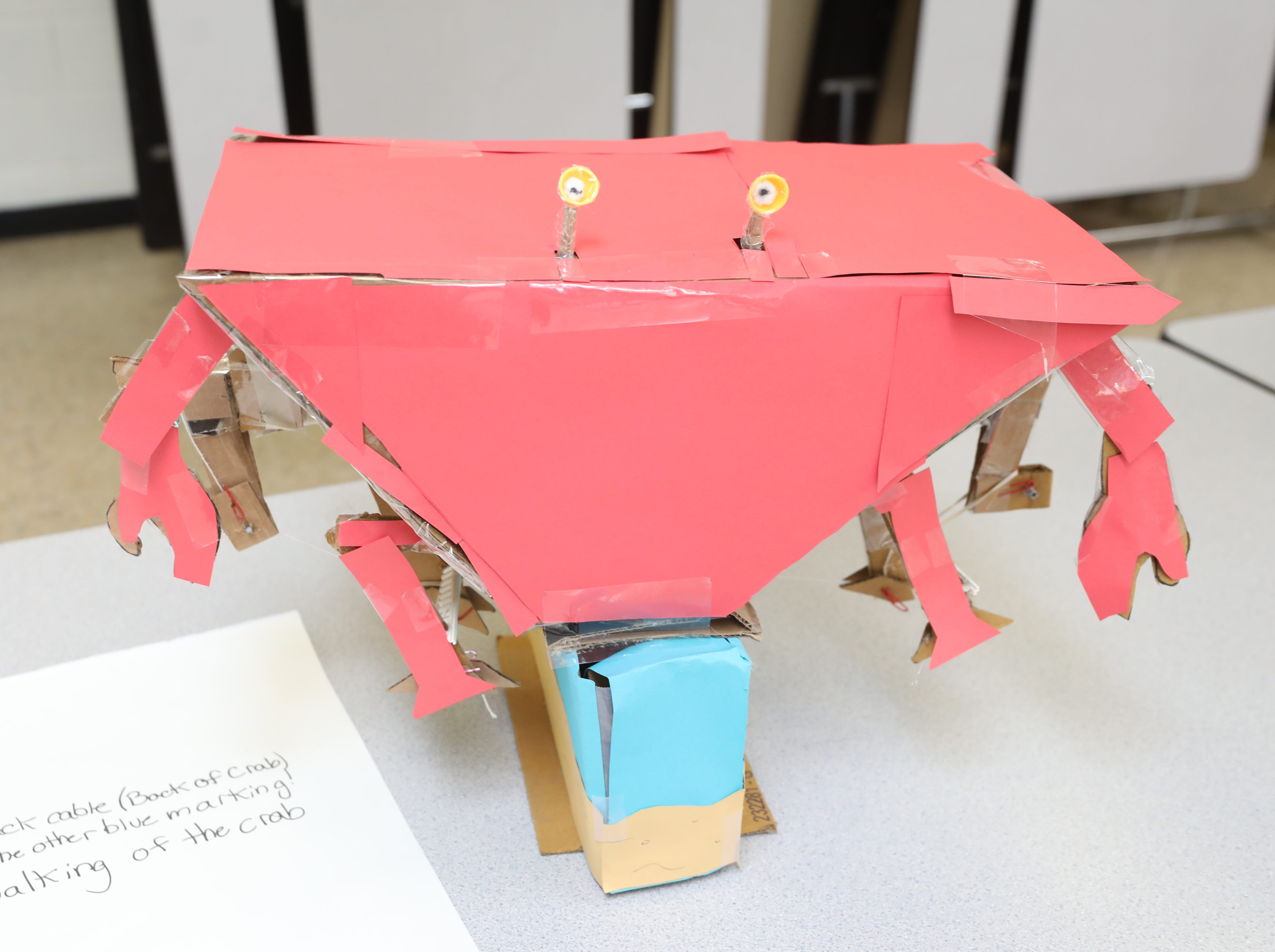 A mechanized crab is part of the Cardboard Animal-a-thon at Ramapo HS where engineering students work on and display their projects, making mechanical animals out of cardboard. They also helped younger students work on projects during the event held at Ramapo HS on February 9, 2019.