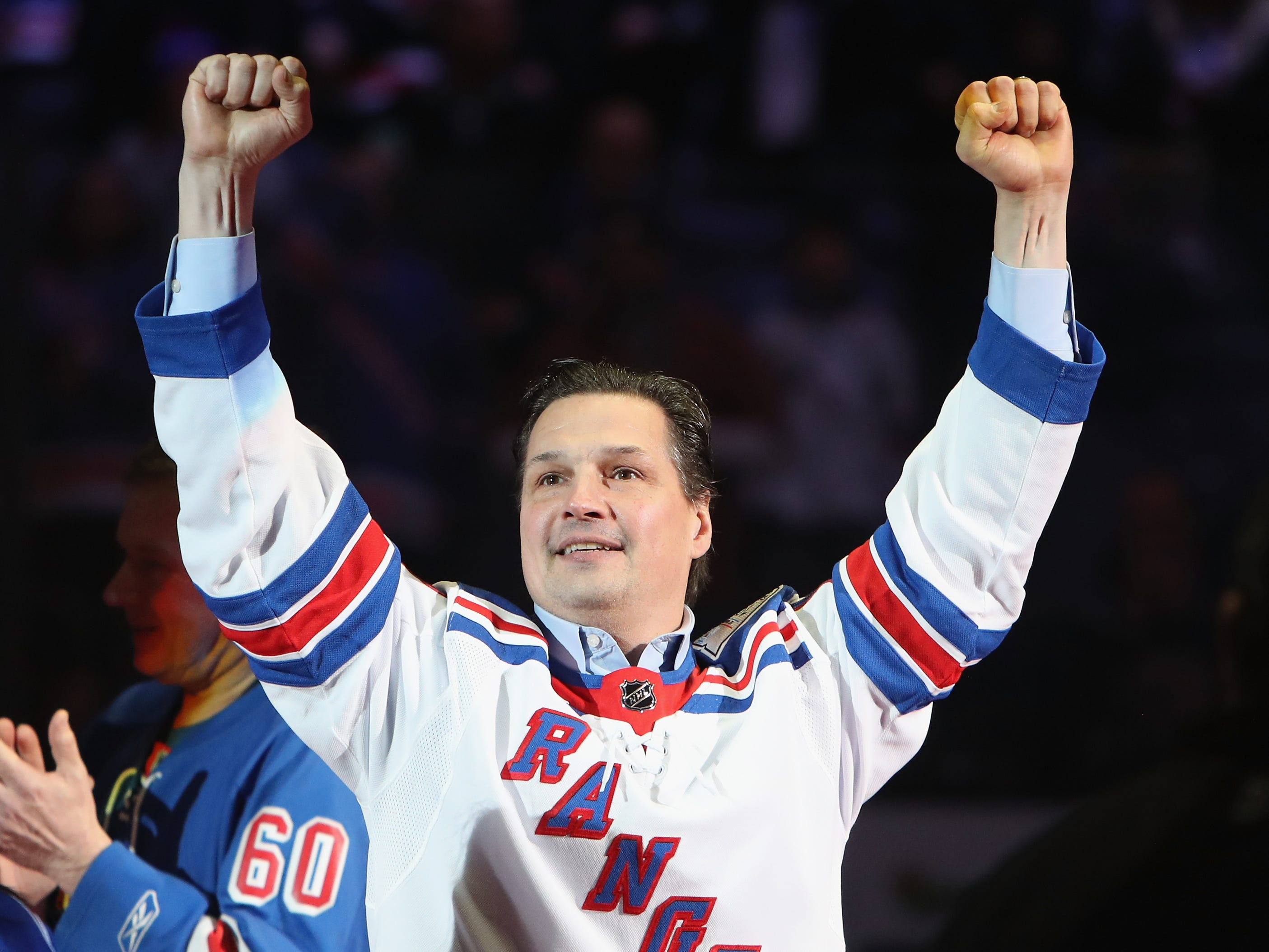 NEW YORK, NEW YORK - FEBRUARY 08: Ed Olczyk of the New York Rangers Stanley Cup winning team of 1994 attend a ceremony prior to the Rangers game against the Carolina Hurricanes at Madison Square Garden on February 08, 2019 in New York City. The Rangers were celebrating the 25th anniversary of their Stanley Cup win in 1994.