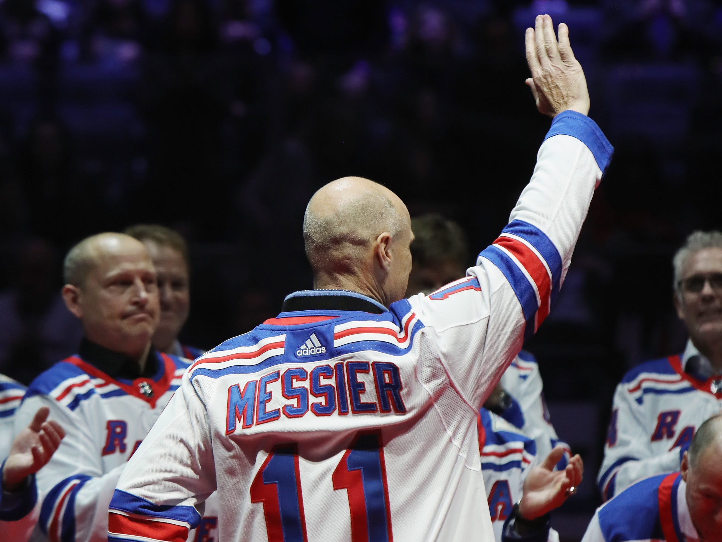 NEW YORK, NEW YORK - FEBRUARY 08: Mark Messier of the New York Rangers Stanley Cup winning team of 1994 attend a ceremony prior to the Rangers game against the Carolina Hurricanes at Madison Square Garden on February 08, 2019 in New York City. The Rangers were celebrating the 25th anniversary of their Stanley Cup win in 1994.