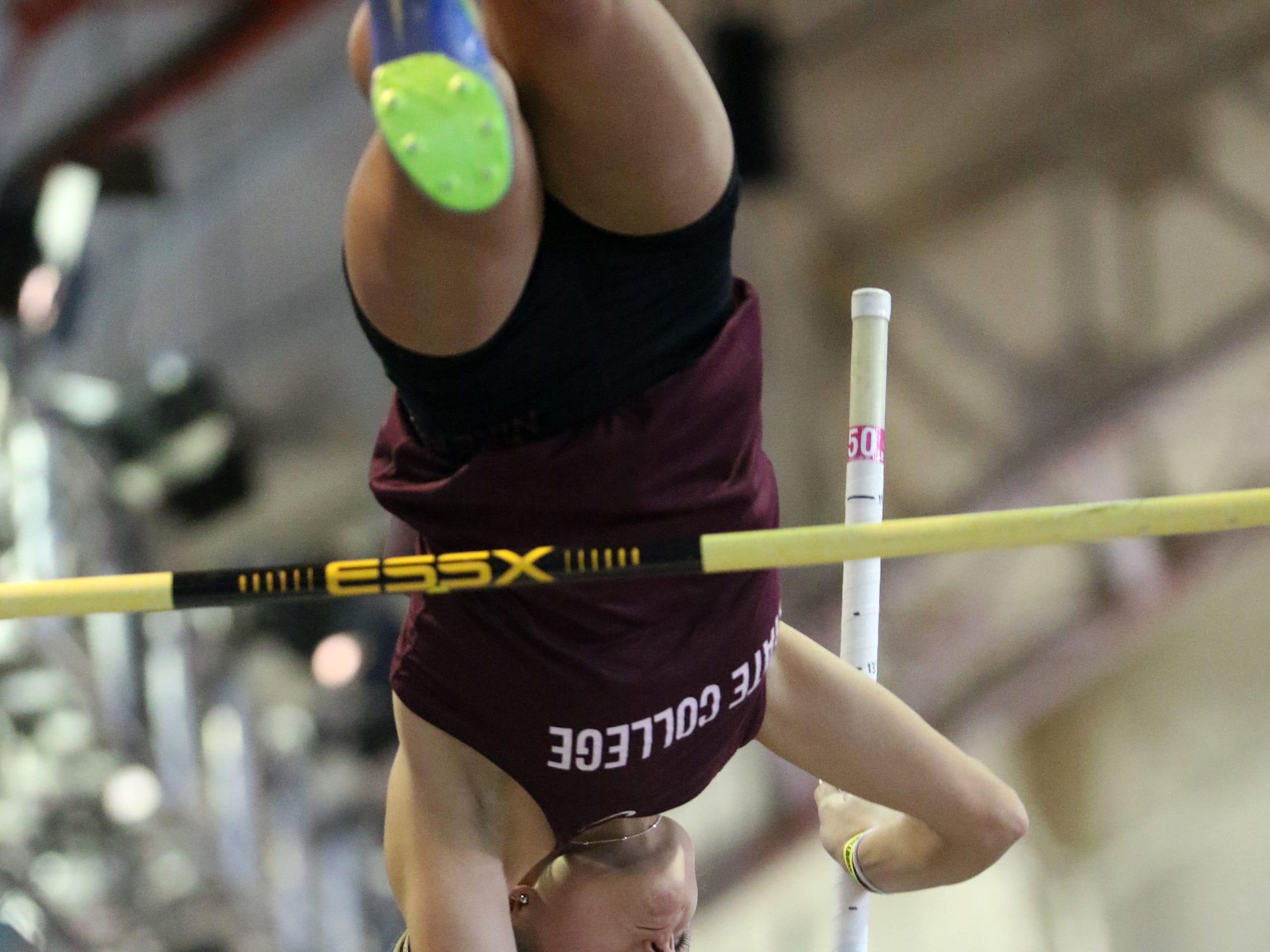 Lindsey Reed, of State College, Pennsylvania, competes in the pole vault. Saturday, February 9, 2019