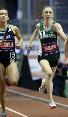 Sarah Adams, of Ramapo, runs the third leg of the 4x400 meter relay. Saturday, February 9, 2019