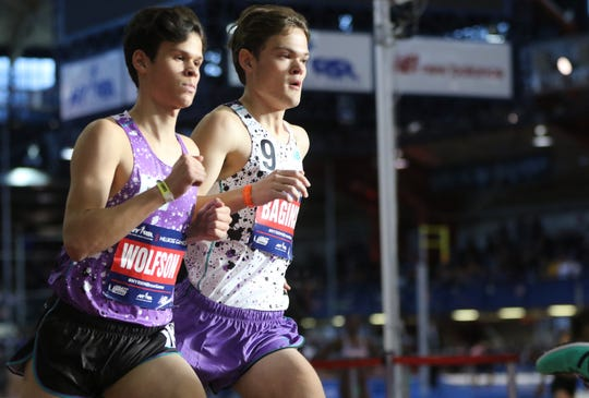 William Baginski, of Ridgewood, competes in the New Balance Boys' Mile.  Baginski came in with a time of 4:17.49. Saturday, February 9, 2019