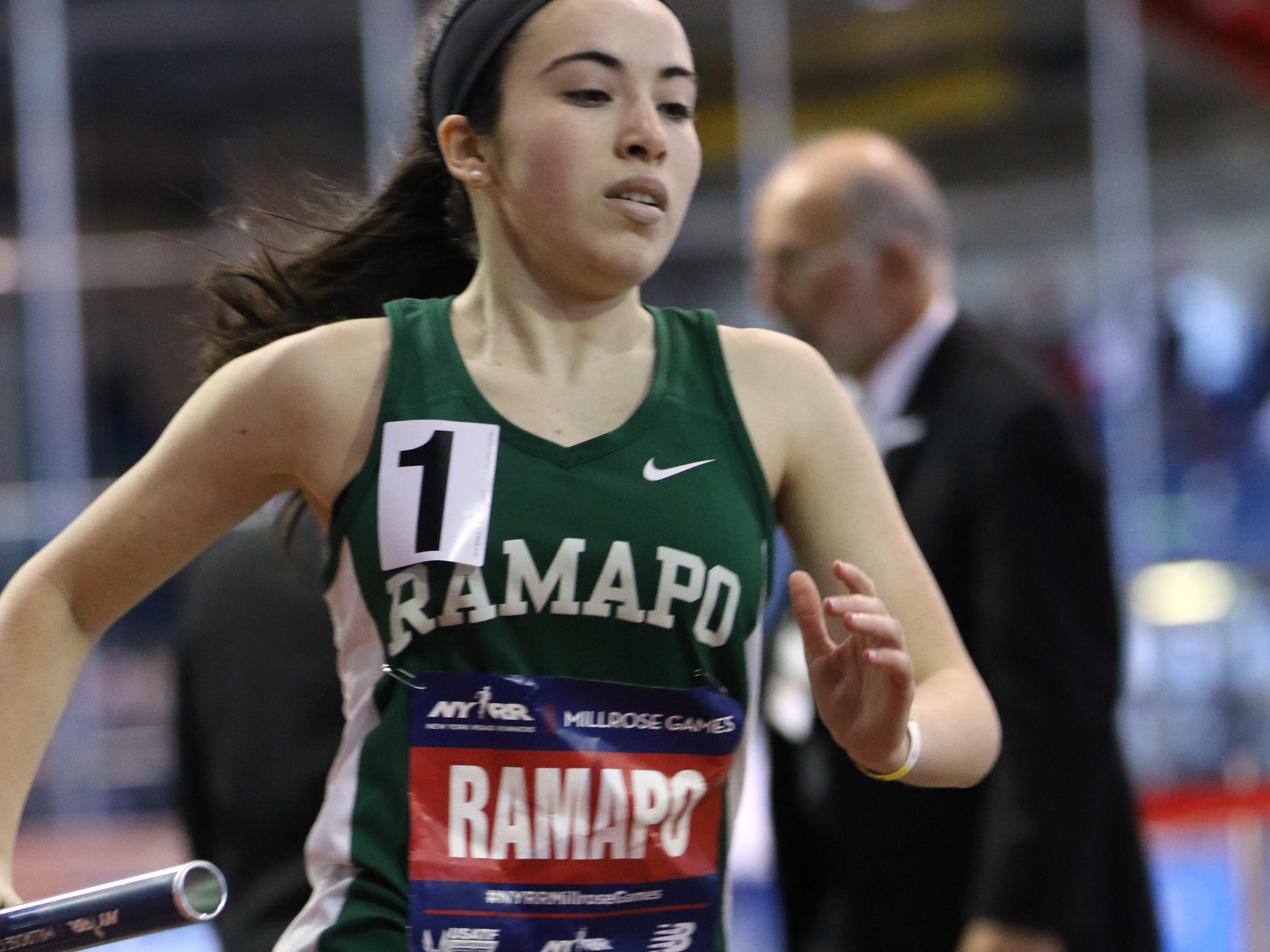 Cortney Lander, of Ramapo, runs the second leg of the 4x400 meter relay. Saturday, February 9, 2019