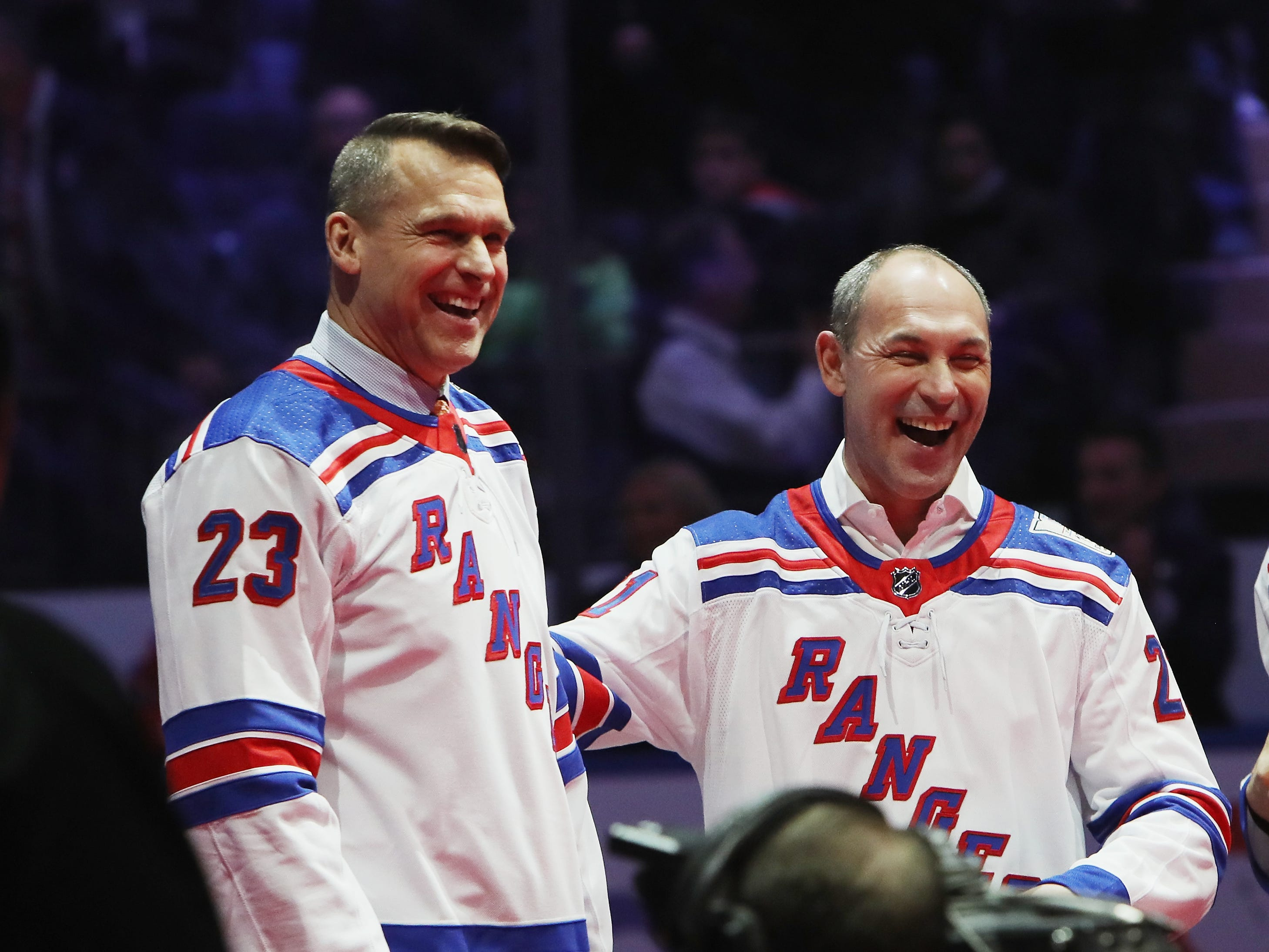 NEW YORK, NEW YORK - FEBRUARY 08: (l-r) Jeff Beukeboom and Sergei Zubov of the New York Rangers Stanley Cup winning team of 1994 attend a ceremony prior to the Rangers game against the Carolina Hurricanes at Madison Square Garden on February 08, 2019 in New York City. The Rangers were celebrating the 25th anniversary of their Stanley Cup win in 1994