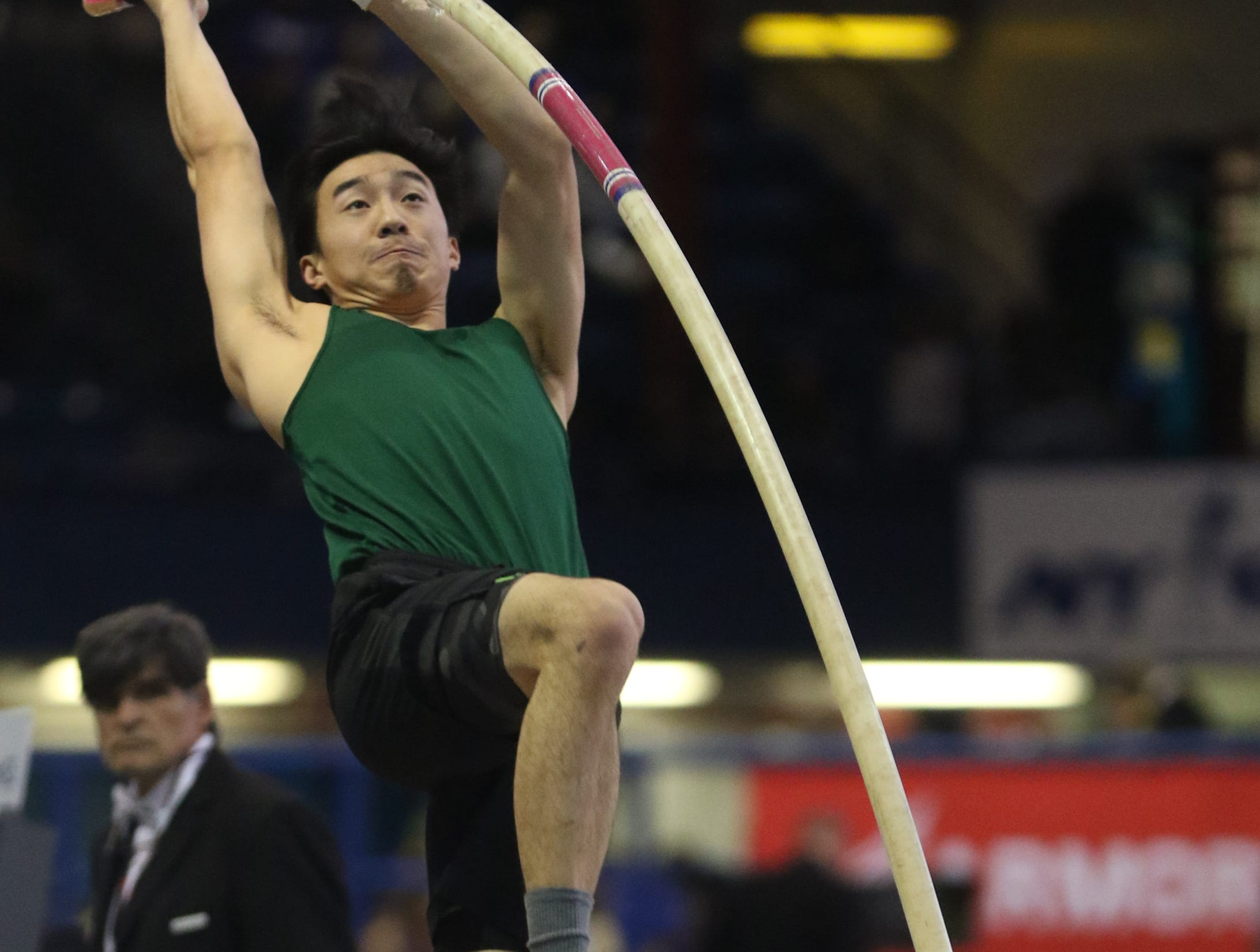 Shane Racey, of Ravena, NY, competes in the pole vault at the Millrose Games. Saturday, February 9, 2019