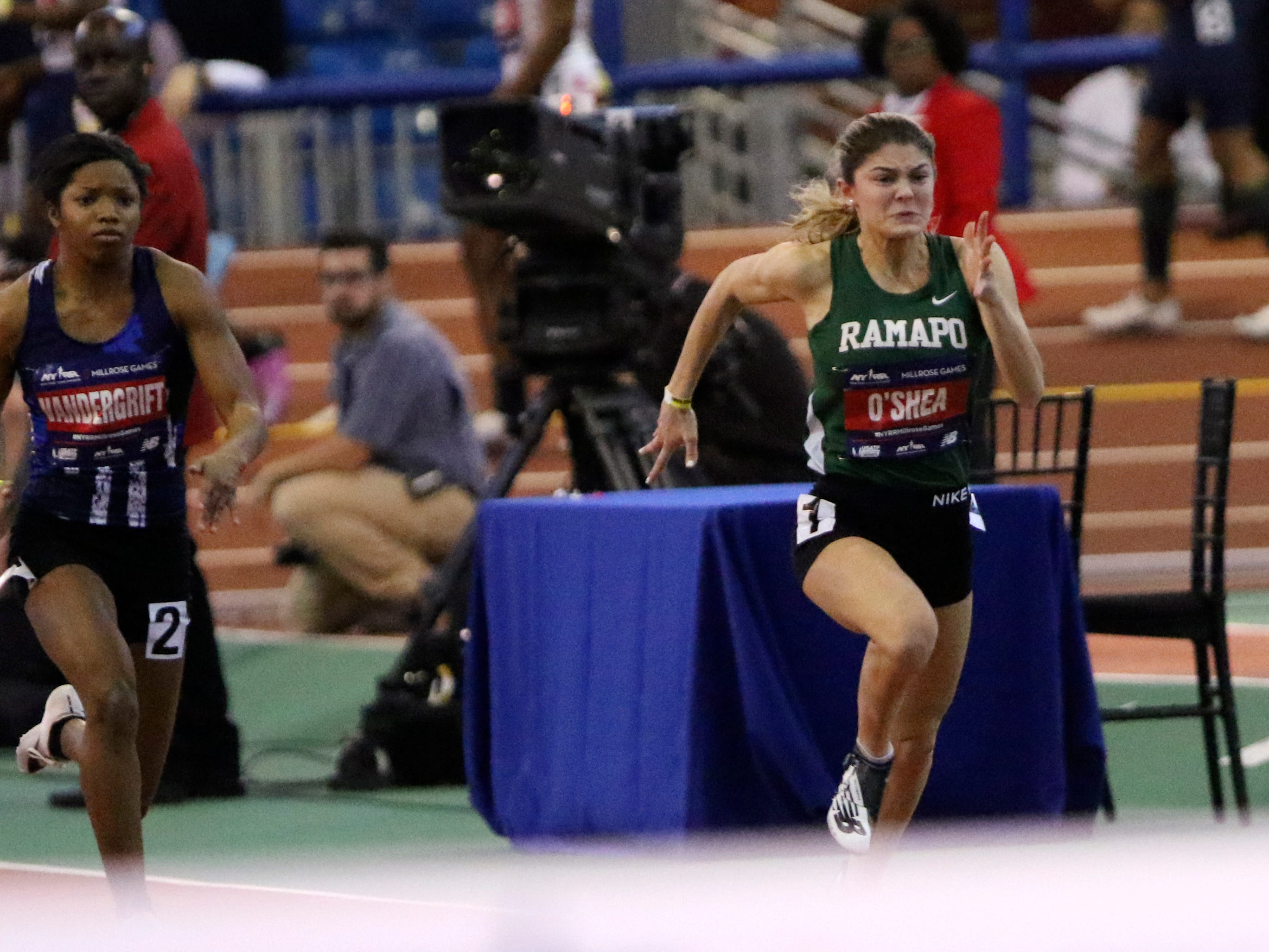 Grace O'Shea, of Ramapo, runs the 60 meter dash. Saturday, February 9, 2019