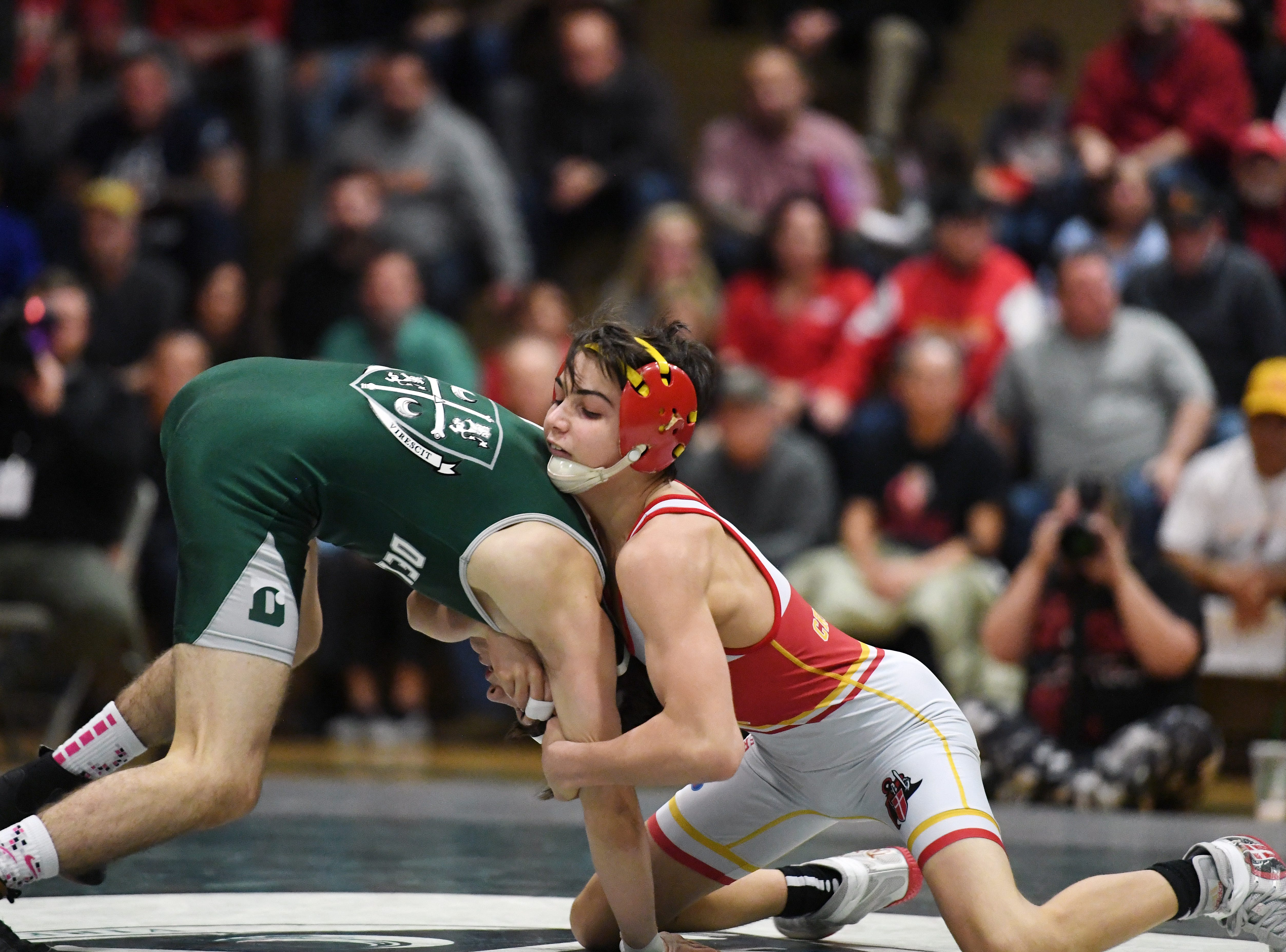 Bergen Catholic wrestling at Delbarton on Friday, February 8, 2019. (right) BC Joseph Cangro on his way to defeating D Thomas Fischer in their 106 pound match.