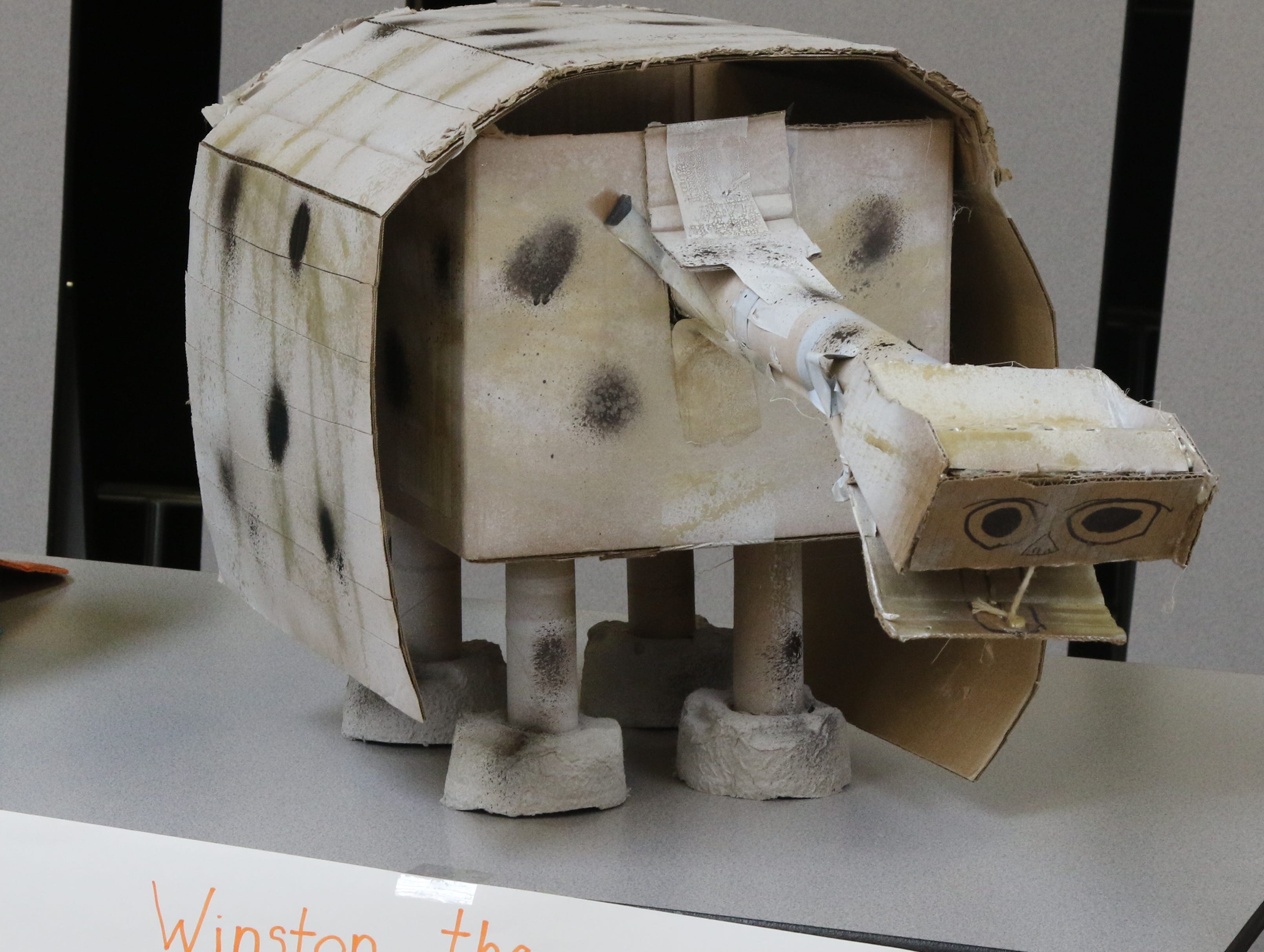 Winston the Dinosaur is part of the Cardboard Animal-a-thon at Ramapo HS where engineering students work on and display their projects, making mechanical animals out of cardboard. They also helped younger students work on projects during the event held at Ramapo HS on February 9, 2019.