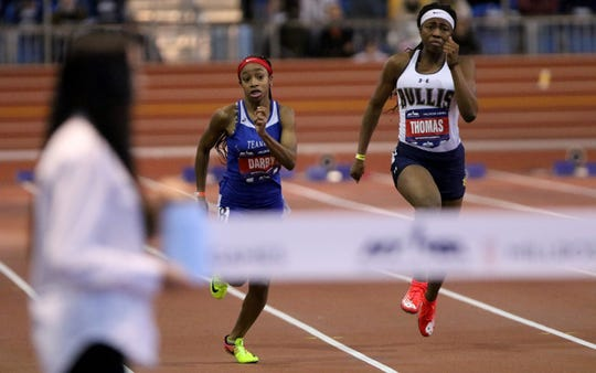 Kayce Darby, of Teaneck, runs the 60 meter dash. Saturday, February 9, 2019