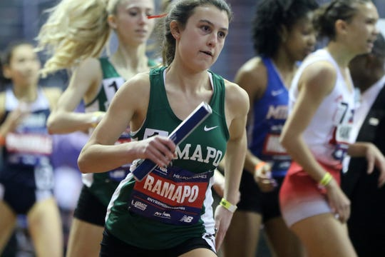 Sophia Vernieri, of Ramapo, runs the anchor leg of the 4x400 meter relay. The team came in with a time of 3:58.2. Saturday, February 9, 2019