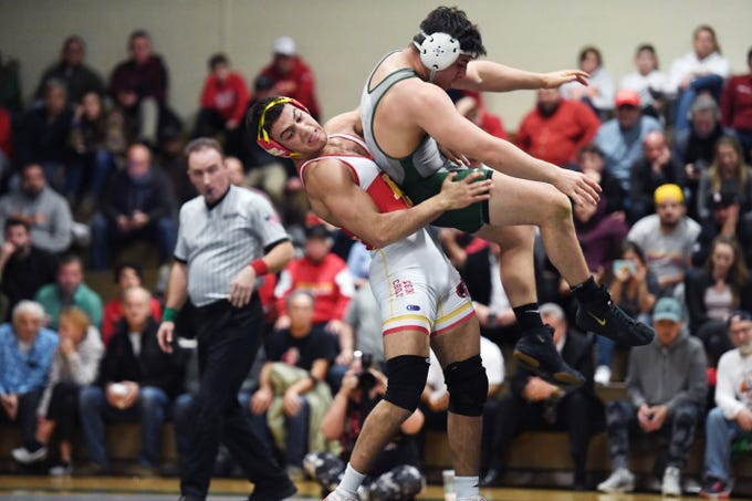 Bergen Catholic wrestling at Delbarton on Friday, February 8, 2019. (left) BC Jacob Cardenas on his way to defeating D Luke Chakonis in their 195 pound match.