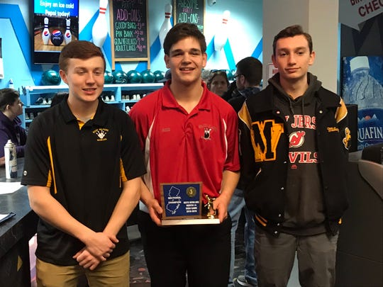 Fair Lawn's Nick Greco (center) shared the high game award with West Milford's RJ Utter (left) and Mikey Nicholas after each shot a 279 in the North 1A boys bowling tournament on Saturday, Feb. 9, 2019.