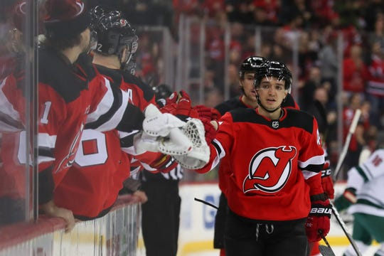 Feb 9, 2019; Newark, NJ, USA; New Jersey Devils left wing Brett Seney (43) celebrates after scoring a goal during the first period against the Minnesota Wild at Prudential Center.