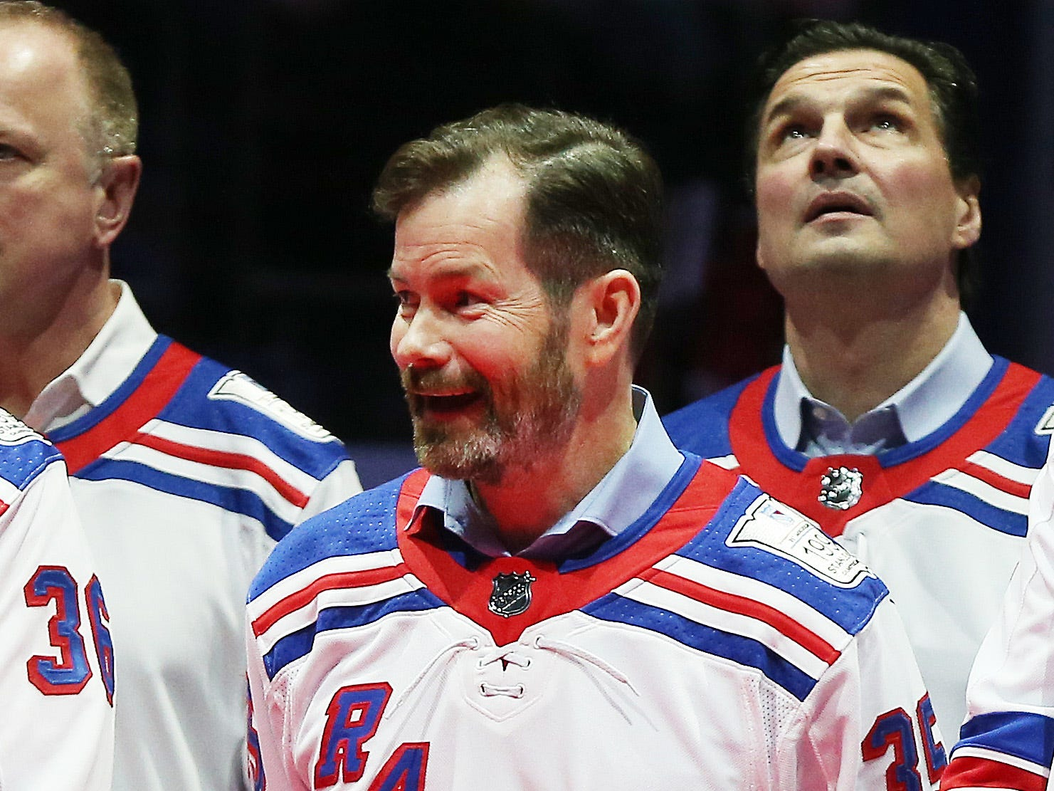 Feb 8, 2019; New York, NY, USA; Former New York Rangers goaltender Mike Richter looks on during the ceremony honoring the 1994 Stanley Cup Championship New York Rangers team at Madison Square Garden.