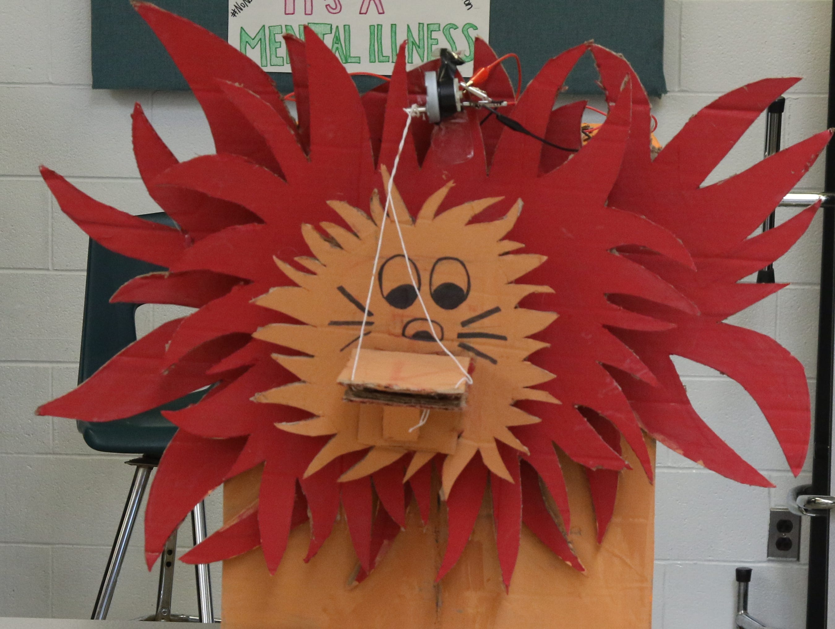 Simba the Roaring Lion is part of the Cardboard Animal-a-thon at Ramapo HS where engineering students work on and display their projects, making mechanical animals out of cardboard. They also helped younger students work on projects during the event held at Ramapo HS on February 9, 2019.