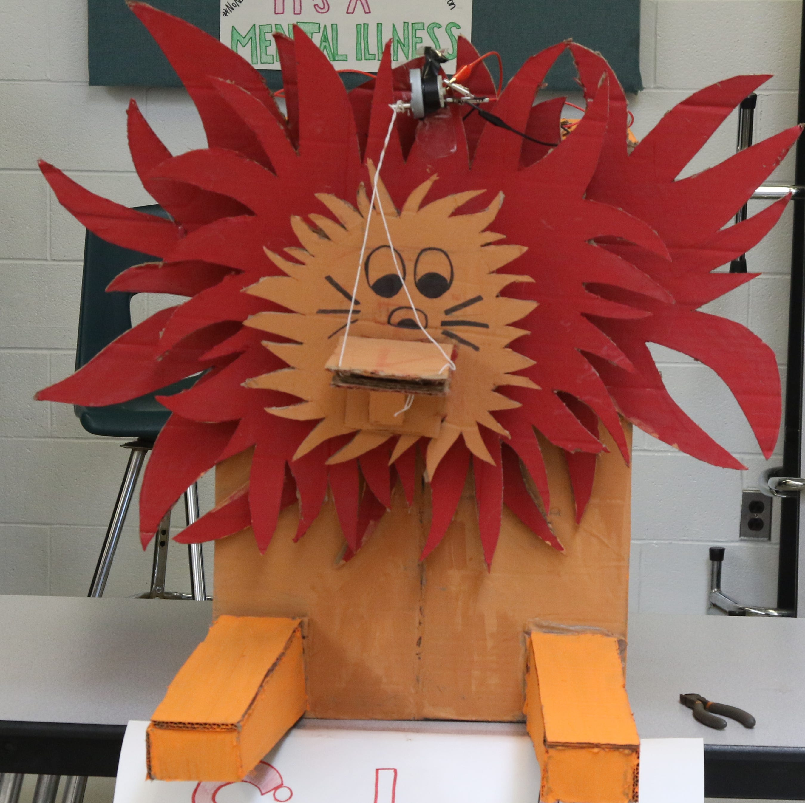 Cardboard critters that move, and teach a lesson in engineering