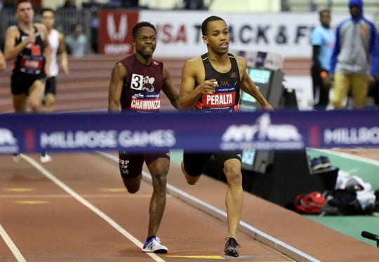 Luis Peralta, of Passaic, won the 600 meter race at the Millrose Games. Peralta ran a 1:19.29, less than 1.5 seconds from the state record and less than two seconds from the national record. Saturday, February 9, 2019