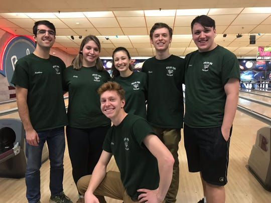 The Midland Park bowling team booked its first trip to the state finals by finishing second in Group 1 at the North 1A sectional on Saturday, Feb. 9, 2019. Standing, from left: Mattew Canellas, Katy Hartmann, Adrianna Kearney, Ryan Gibbons and Connor Mazzrillo. Kneeling: Tim Meima.