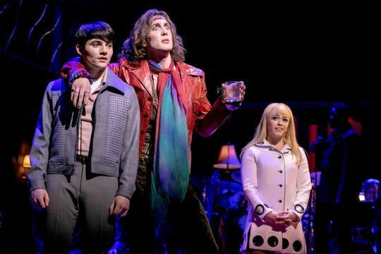 "Jonny Amies (Peter), Conor Ryan (Trip) Erika Olson (Pamela) and Kyle Taylor Parker (Geno) in ""My Very Own British Invasion"""