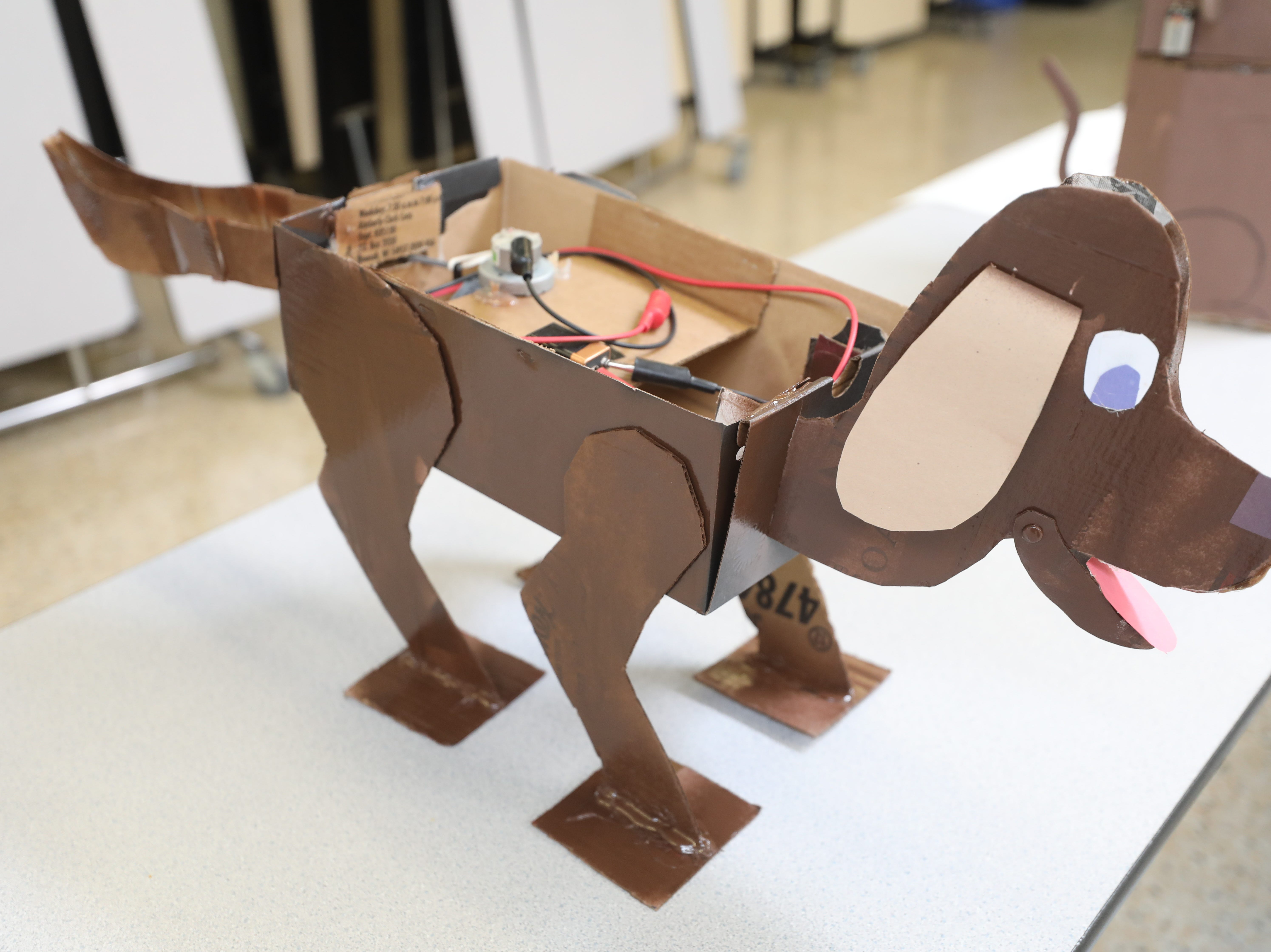 This cardboard dog is part of the Cardboard Animal-a-thon at Ramapo HS where engineering students work on and display their projects, making mechanical animals out of cardboard. They also helped younger students work on projects during the event held at Ramapo HS on February 9, 2019.