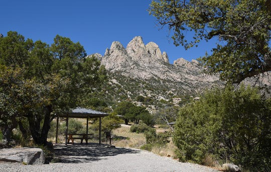 A view of the Organ Mountain Needles shows the landscape surrounding the Aguirre Spring Recreation Area and Campground.