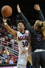 Gia Pack and the New Mexico State women's basketball team defeated Grand Canyon on Saturday in WAC play at the Pan American Center.
