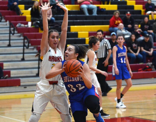 Las Cruces High's Destiny Ortega eyes the basket as Centennial's Maryn Bybee blocks her way during Friday night's game.
