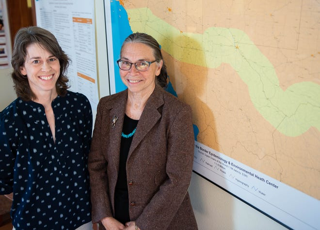Pictured Feb. 7, 2019, Dr. Jill McDonald, right, and Dr. Charlotte Gard, left, faculty members at New Mexico State University, were part of an NMSU research team that discovered Hispanic women living in the border region in the United States were more likely to have a cesarean birth than other Hispanic women in border states and U.S. Hispanic women overall.
