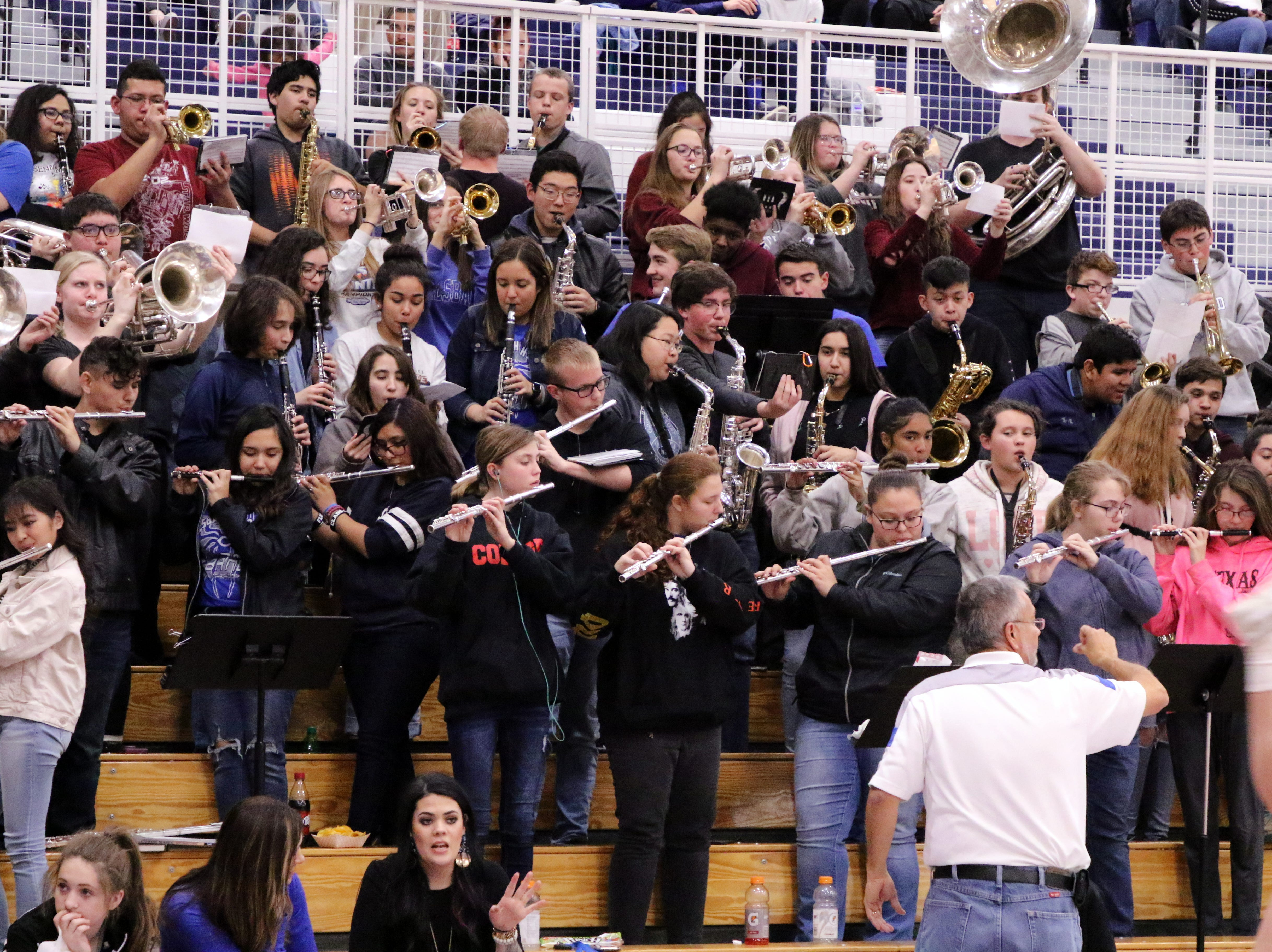 Carlsbad's band plays during Friday's game against Hobbs. Hobbs won, 46-42.