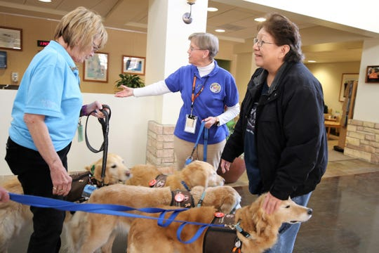 Alberta Hobson, right, pets one of the therapy dogs as Helen Taylor, left, and Sarah Kaynor, center, wrangle the dogs in the lobby Friday of San Juan Regional Medical Center.