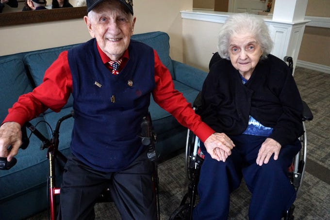 Bill and Helen Barz at their West Bloomfield residence. The pair have been married for 59 years.