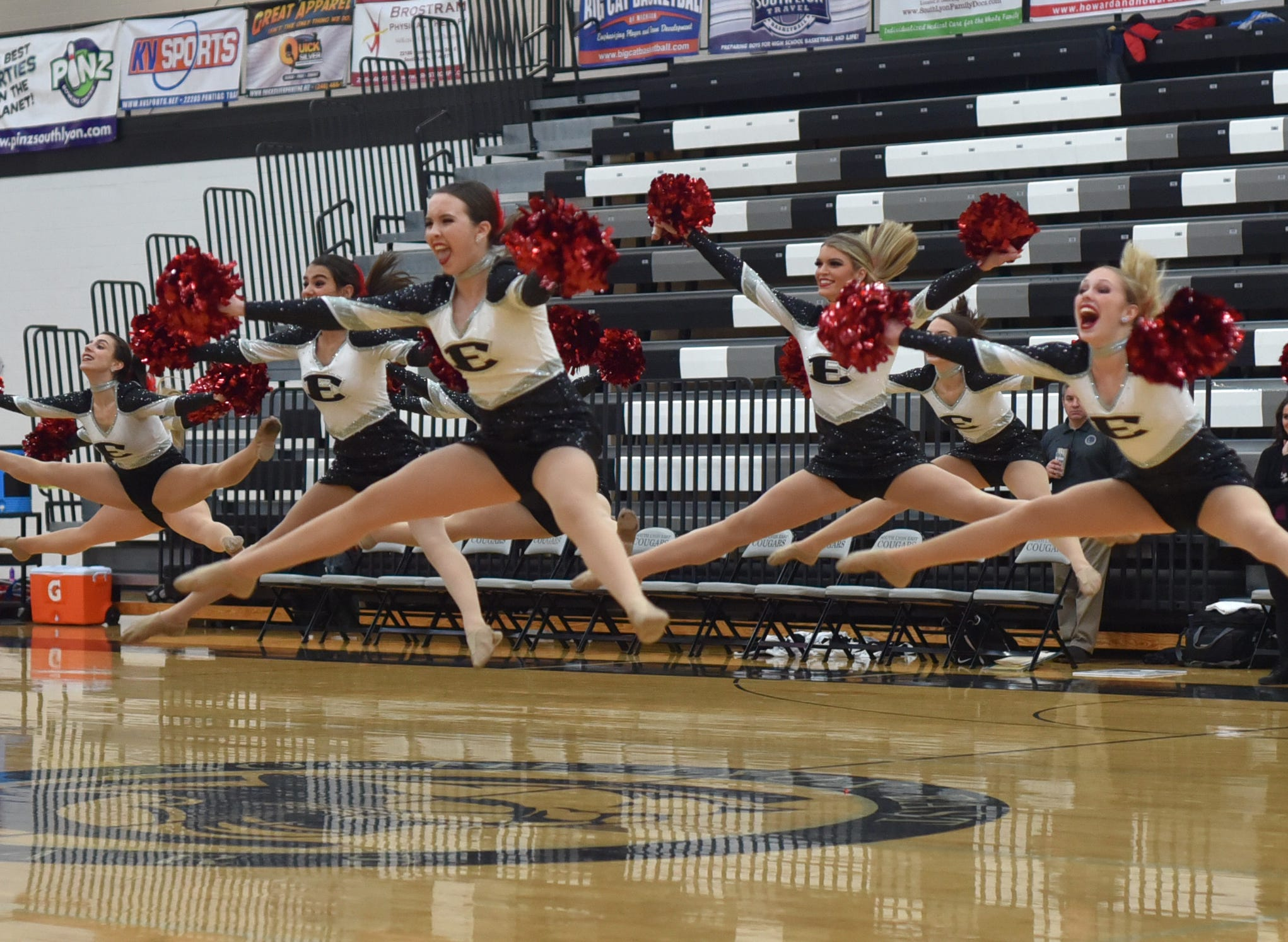 South Lyon East High's pom-pon squad performs at halftime.