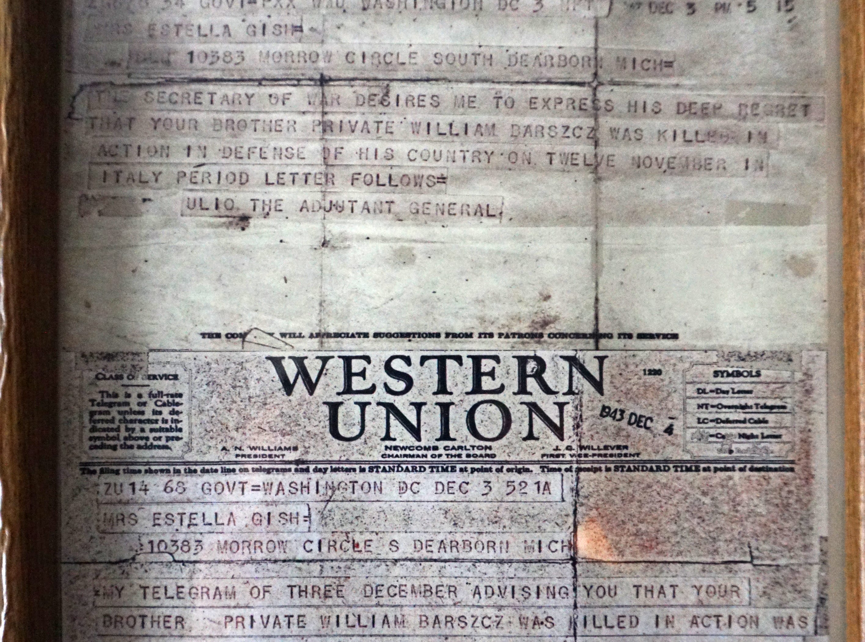 Bill Barz keeps a copies of the Western Union telegram from WWII that at first announced his death to his family and then subsequently his capture an POW status.